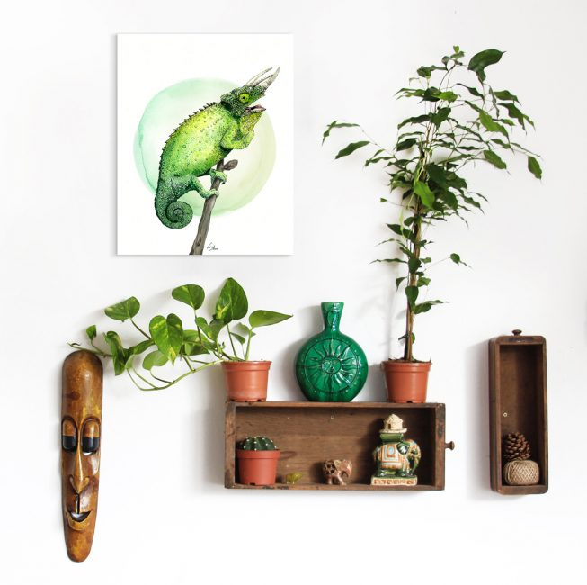 "Chameleon illustration ""Green Eye"" by Lisa Mona, available on www.art-aid.at"